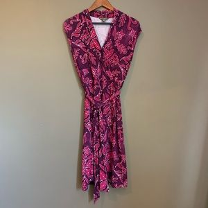 Tommy Bahama patterned midi dress with tie waist.